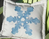 """Outdoor pillow snowflake snow 20"""" square or 15"""" rectangle skiing snowboarding crystal ice blue Crabby Chris Original"""
