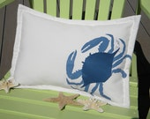 "Lumbar Blue Crab pillow indoor outdoor 14""x20"" coastal ocean SCUBA crabbing fishing beach gulf east coast seafood sailing crustacean"