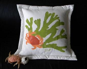 "Crab pillow 20"" coastal CRAB IN ROCKWEED indoor outdoor Dungeness handpainted coastal Pacific coast ocean seashore Crabby Chris Original"