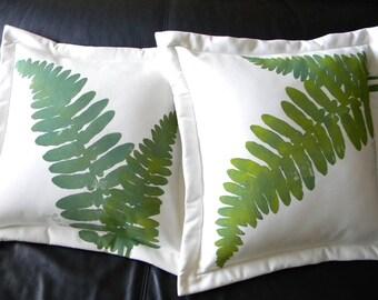 """Outdoor pillow fern 20"""" (50cm) green forest rainforest natural woods botanical sword Ferngully Crabby Chris Original"""