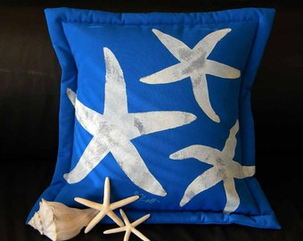 "Outdoor pillow THREE SEASTARS COBALT20"" (50cm) blue coastal sea stars cerulean electric blue starfish beach echinoderm Crabby Chris Original"