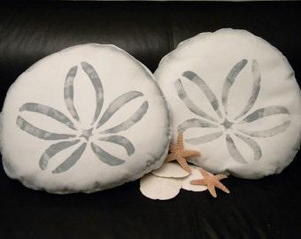 "Outdoor pillow SAND DOLLAR silhouette18"" (46cm)  painted coastal beach shelling beachcombing cabin seashell echinoderm Crabby Chris Original"