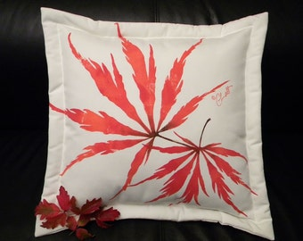 "Outdoor pillow Japanese Maple ships tomorrow 20"" (50cm) square autumn leaf leaves lace leaf tree painted Crabby Chris Original"