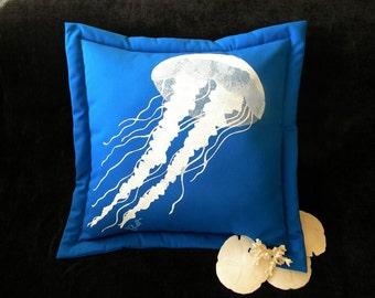 "Outdoor pillow JELLYFISH jelly 20"" (50cm) painted beach nautical ocean aquarium seaside Crabby Chris Original"