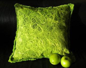 "Grass pillow 18"" (45cm) green throw accent turf lawn yard Granny Smith park landscape emerald garden photographic apple green crabgrass"