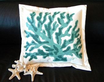 "Outdoor pillow FINGER CORAL TURQUOISE 20"" jade teal forest green hunter coastal beach tropical ocean marine nautical Crabby Chris Original"