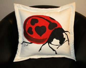 "Outdoor pillow Valentine Edition Ladybird Beetle 20"" ladybug painted love bug lovebug heart spots black white red entomology Volkswagen"