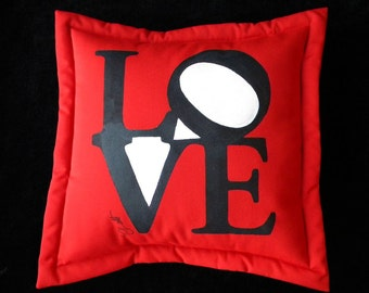 "Outdoor pillow LOVE ships tomorrow 20"" (50cm) painted pop art Robert Indiana inspired sweetheart graphic red black Crabby Chris Original"