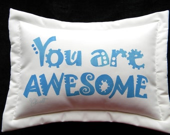 """Outdoor pillow You Are Awesome 13""""x19"""" affirmation positive self speak pat on the back admiration fan club verbal hug Crabby Chris Original"""