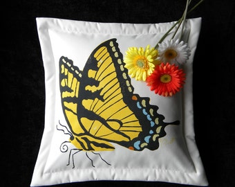 "Tiger Swallowtail butterfly pillow 20"" painted papillion chrysalis pupa caterpillar spring migration entomology garden Crabby Chris Original"
