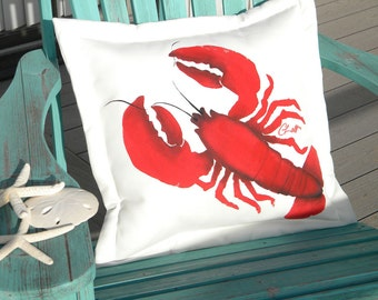 "Outdoor pillow lobster LAWRENCE 20"" (50cm) square coastal all weather crustacea gourmand chef nautical seafood marine Crabby Chris Original"