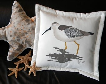 "Outdoor pillow sandpiper 20"" shorebird coastal curlew beach dowitcher ocean snipe godwit dunlin bay bird birding seashore marine saltwater"