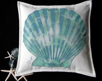 "Outdoor pillow scallop aqua painted  20"" beach beachcombing shell shelling seashore ocean marine coastal sand shoreline tropical"