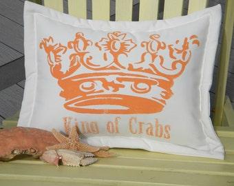 """Outdoor pillow King of Crabs coastal outdoor 14""""x20"""" fishing crabbing gourmet crabby seafood royal queen ocean deadliest catch"""