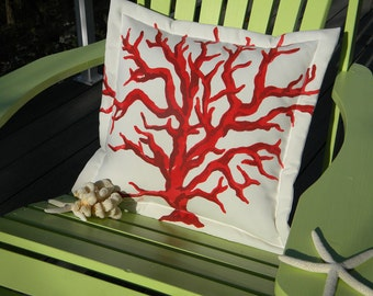 """Outdoor pillow BRANCH CORAL one red and one blue available to ship tomorrow two-tone 20"""" pillow tropical reef ocean coastal beach sea marine"""