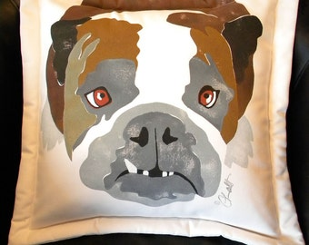 "Dog pillow English bulldog PET RESCUE Benefit 20"" outdoor best friend USMC Marine Corps underbite Yale snaggletooth canine rainbow bridge"