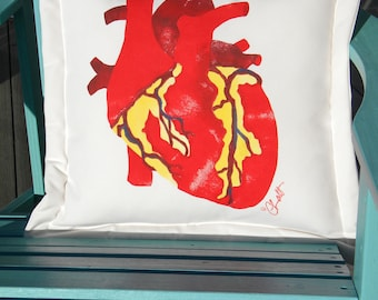 """Anatomical heart pillow 20""""x20"""" (50cm) ventricle aorta Valentine cardiology fibrillate cardiologist phlebotomist Crabby Chris"""