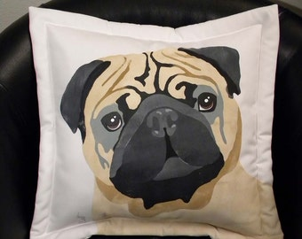 "Dog pillow PUG outdoor 20"" ships tomorrow rescue benefit canine wrinkles faun schnoz best friend lowrider snort Crabby Chris Original"