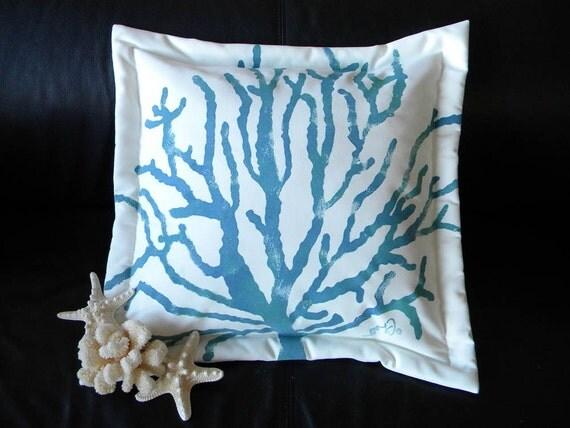 "Outdoor pillow SEA FAN blue sea whip coral 20"" coastal Gorgonian shelling beachcombing beach seashore Firstfridayartwalk"
