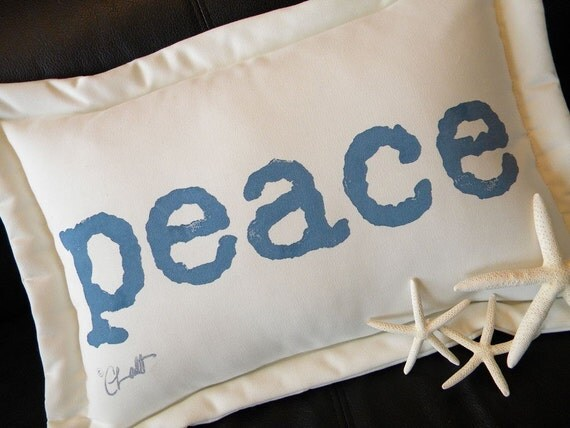"Outdoor pillow PEACE ships tomorrow 13""x18"" (33x46cm) cushion painted lumbar blue white peaceful pax typography give peace a chance"