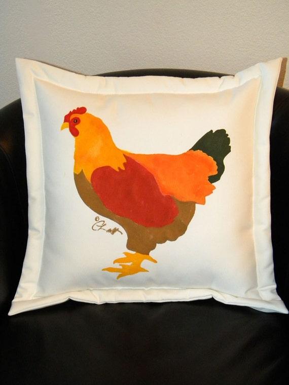 "FEATURED in NAT'L MAGAZINE Hen pillow 20"" painted Bantam Bantie barnyard henhouse chicks coop  country chicken Crabby Chris Original"