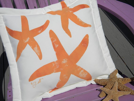 "Outdoor pillow THREE SEA STARS cushion 20"" (50cm) starfish coastal orange beach seashore shell cabin painted ocean Crabby Chris Original"