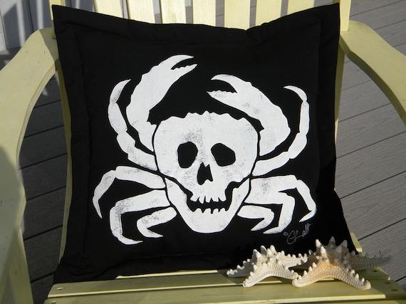 "Outdoor pillow Crabbers of the Caribbean 20"" black skull pirate crab Jolly Roger crustacean claws crabbing Crabby Chris Original"