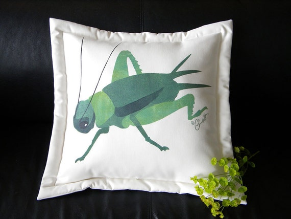 "Outdoor pillow cricket 20"" insect good luck all weather chirp Orthoptera summer Jiminy Cricket conscience Crabby Chris Original"