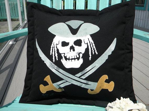 "Pirate pillow dreaded captain painted 20"" (50cm) indoor outdoor skeleton skull sword dreadlocks pillage plunder Crabby Chris Original"