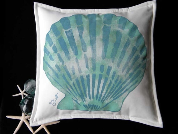 "Outdoor pillow scallop aqua painted  20"" beach beachcombing shell shelling seashore ocean marine coastal sand shoreline tropical"