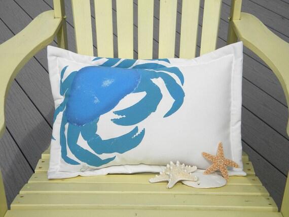 "Outdoor pillow CLASSIC CRAB LUMBAR 15""x20"" (38x50cm) painted bright blue coastal beach seashore crustacean vacation Dungeness Crabby Chris"