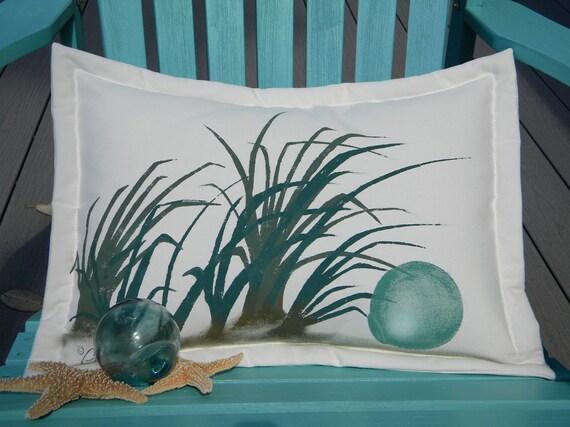 "Outdoor pillow GLASS FLOAT painted 14""x20"" lumbar Japanese fishing  coastal seashore beachcomber beach glass cabin cottage shelling"