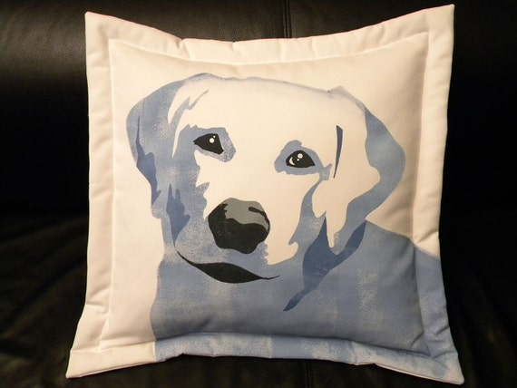 "Dog pillow Old Blue outdoor Lab 20"" canine LABRADOR RETRIEVER best friend rainbow bridge rescue benefit Crabby Chris"
