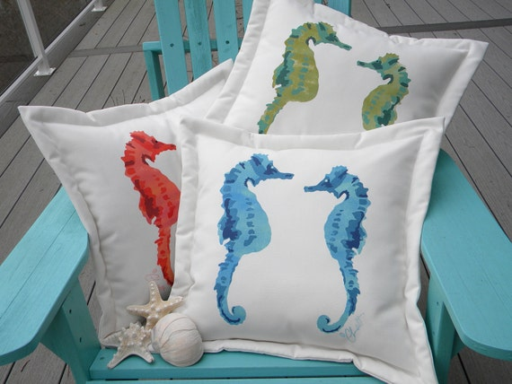 "Outdoor pillow SEAHORSES in LOVE aqua ships tomorrow 20"" (50cm) pregnant father dad ocean coral reef ocean coastal beach medical miracle"
