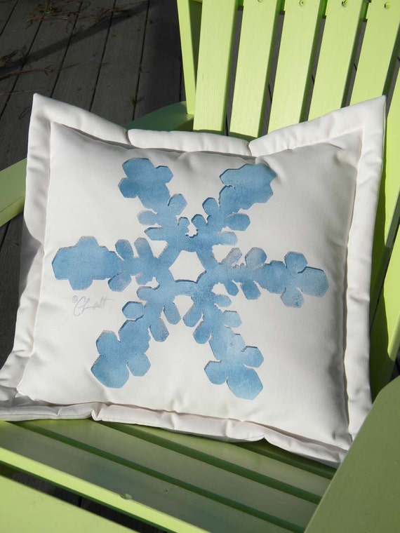 "Outdoor pillow snowflake snow 20"" square or 15"" rectangle skiing snowboarding crystal ice blue Crabby Chris Original"