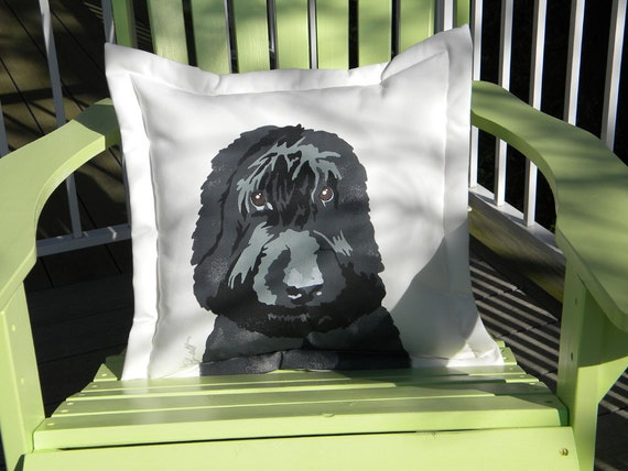 "Dog pillow LABRADOODLE outdoor 20"" dog canine Labrador Retriever Poodle nonallergenic therapy Crabby Chris Original"
