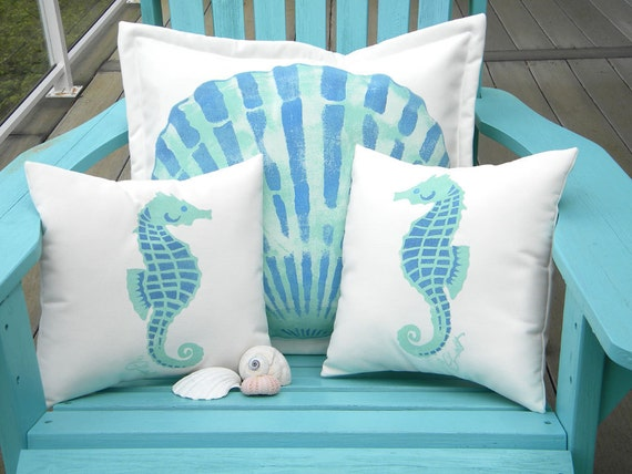 "Outdoor pillows LITTLE SEAHORSES PAIR child your choice color on white 12""x12"" (30cm) coastal ocean beach Crabby Chris Original"