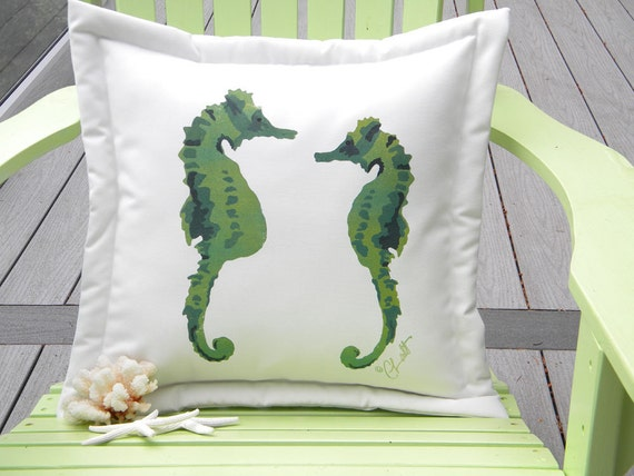 "Outdoor pillow SEAHORSES in LOVE GREEN 20"" pregnant father dad ocean coral reef coastal beach medical miracle pipefish sea life"