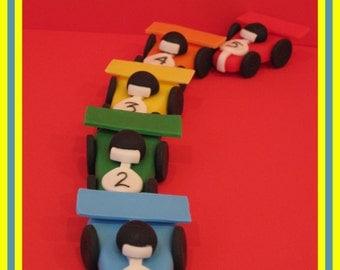 "Fondant Race Car Cupcake/Cake Toppers 1.5""H x 2""W"
