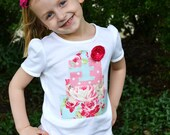 Girls Birthday Cake Shirt in Chic Pink and Blue Floral Fabrics with Custom Age or Initial
