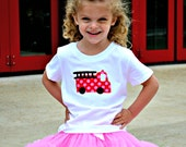 Girls Firetruck Shirt in Pink and Red Polka Dot