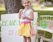 Girls Lemonade Stand Apron Skirt in Pink and Yellow Girls handmade by sweet threads