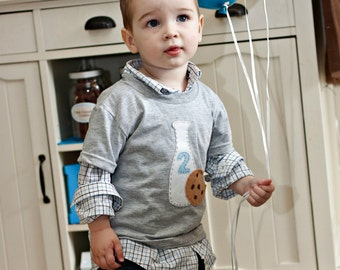 Boys Cookie Party Shirt with Milk Bottle
