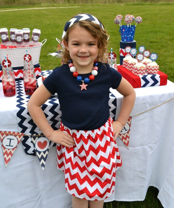 Girls 4th of July Skirt in Red Chevron Stripes handmade by sweet threads