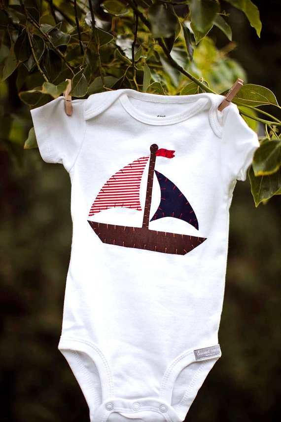 Boys Sailboat Bodysuit in Red and Navy