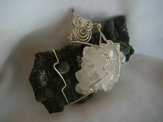 Apophyllite and Chalcedony Wire Wrapped Pendant