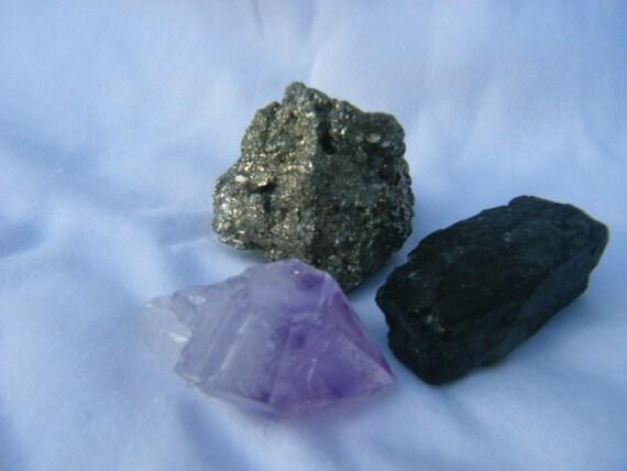 Pyrite, Coal, Amethyst Point - Prosperity Trinity Package