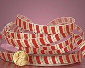"3/8"" Christmas Ribbon Green, Red, White Traditional"