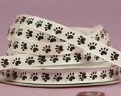 "3/8"" Grosgrain Ribbon Black Paw on White Ribbon Paw Print"