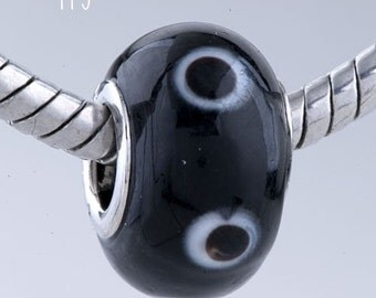 Lampwork Glass Bead - BK A3a - Black with Black Polkadots with White Halos